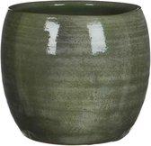 Mica Decorations lester ronde pot groen maat in cm: 22 x 24 - GROEN