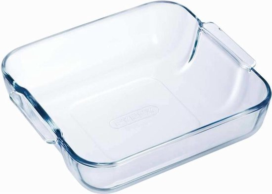 Vierkante glazen ovenschaal 2 liter 21 x 21 x 6,5 cm - Ovenschotel schalen - Bakvorm