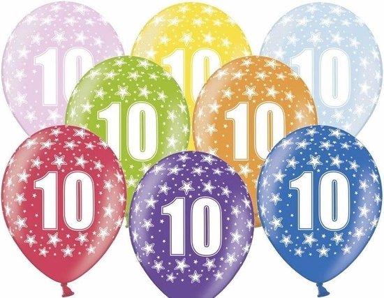 18x Ballonnen 10 jaar thema met sterretjes - Leeftijd/jubileum feestartikelen en versiering