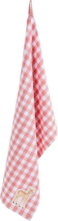 Clayre & Eef Theedoek SWD42C-2 50*85 cm - Roze 100% Katoen Vaatdoek Keukendoek Schotelvod