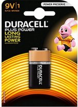2x Duracell plus batterij 9 volt blok, MN1604 -extra life/more power