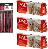 Witte boetseerklei van DAS 3 x 1 kilo inclusief boetseer gereedschap setje - Hobby boetseer klei met gereedschap