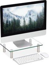 relaxdays monitor verhoger glas - monitorstandaard - beeldscherm verhoging - doorzichtig Klein