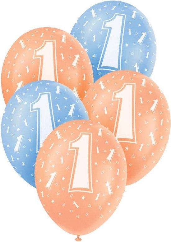 Haza Original Ballonnen 1 Jaar Blauw/oranje 30 Cm 5 Stuks