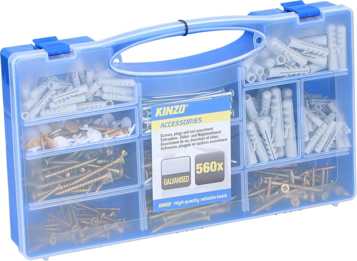 Kinzo set schroeven, pluggen en spijkers - 560-delig - gegalvaniseerd - in opbergkoffer