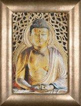 Thea Gouverneur - Borduurpakket met telpatroon - 532A - Voorgesorteerde DMC Garens - Buddha - Aida - 22 cm x 34 cm - DIY Kit