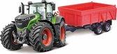 Bburago Fendt 1000 VARIO TRACTOR + TIPPING TRAILER groen/rood schaalmodel 10 CM