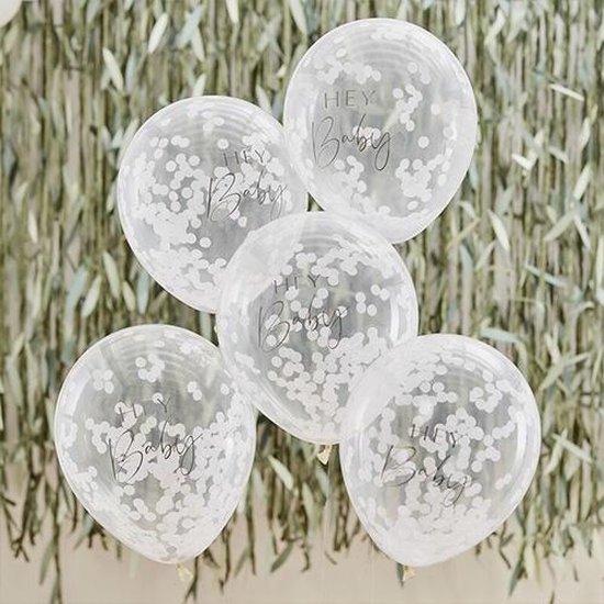 Botanical Baby - Confetti ballonnen Hey Baby (5 stuks)