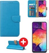 Samsung Galaxy A20e hoesje book case turquoise met tempered glas screen Protector