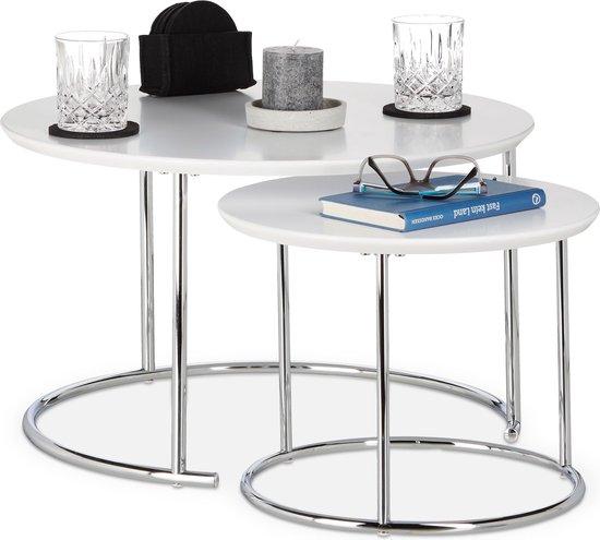 Fonkelnieuw bol.com   relaxdays bijzettafel 2er set - nest tafels rond DJ-36