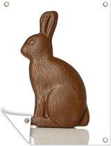 Paashaas van chocola Tuinposter 120x160 cm - Tuindoek / Buitencanvas / Schilderijen voor buiten (tuin decoratie) XXL / Groot formaat!