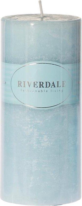 Candle Pillar light blue 7.5x15cm