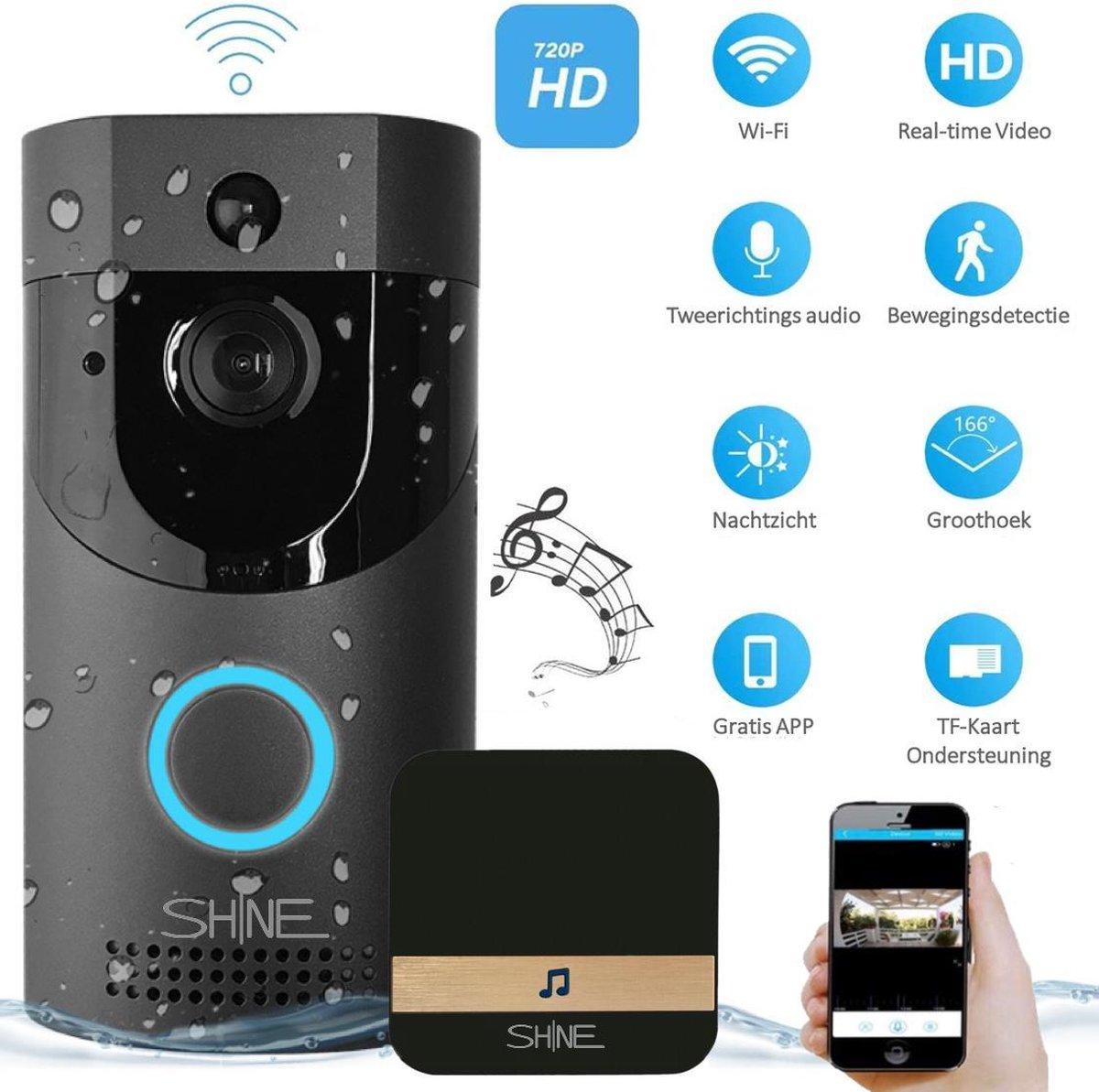 Video deurbel met Camera en WiFi - 2.4 GHz - Intercom - Incl. Cloud-storage & Chime met 52 melodie n