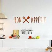 Muursticker Bon Appétit -  Bruin -  80 x 17 cm  - Muursticker4Sale