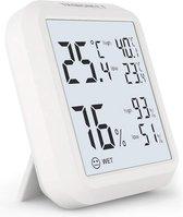 Thermometer binnen - hoge nauwkeurigheid - Vernieuwen van 10 seconden - Tijd - Gegevensgeschiedenis binnen 24 uur - Wit