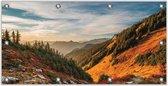 Tuinposter –Bergen met Bomen en Zon – 200x100 Foto op Tuinposter (wanddecoratie voor buiten en binnen)