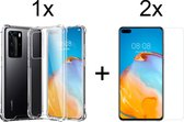 Huawei P40 Hoesje Transparant - Shock Proof Case - 2 x Tempered Glass ScreenProtector