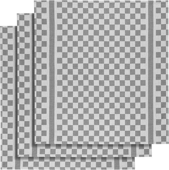 De Witte Lietaer Keukenhanddoek 65x70 Cm Katoen Wit/grijs 3 Stuks