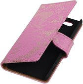 Lace Bookstyle Hoes voor Sony Xperia Z4 Compact Roze