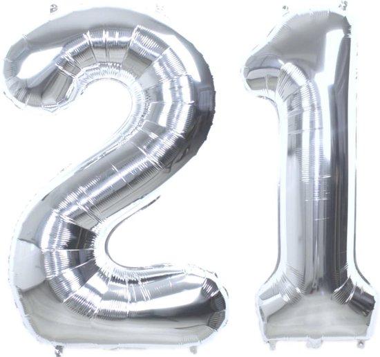 Folie Ballon Cijfer 21 Jaar Zilver 70Cm Verjaardag Folieballon Met Rietje