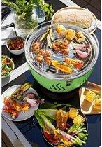 Houtskool-BBQ (Groen) Met Ingebouwde Ventilator - Gemakkelijk barbecueen op Balkon, Terras of tijdens Picknick - Met gratis Draagtas en Batterijen