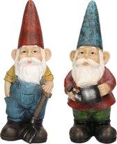 2x Tuinkabouter beelden Harold met hark en Gerard met gieter 29 cm - Tuindecoratie/tuinversiering kabouters beelden