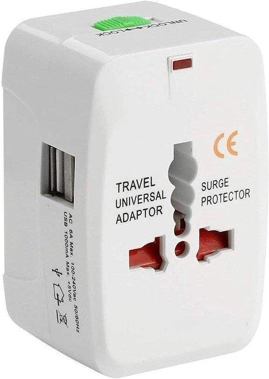 Universele Wereldstekker met 2 USB Poorten - Internationale Reisstekker voor 150+ landen - Amerika (USA) - Australië - Azië - Engeland (UK) - Zuid Amerika - Afrika - Reis Adapter - Wereld Stekker - Oplader – Wit