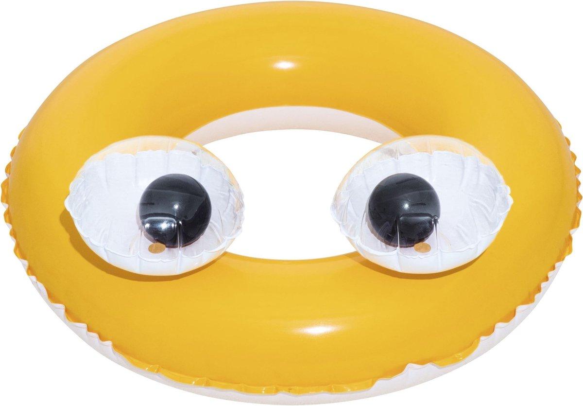 Opblaasbare gele zwemband met ogen 61 cm voor kinderen - Zwembenodigdheden - Zwemringen - Veilig zwemmen - Gele 3D zwembanden met ogen