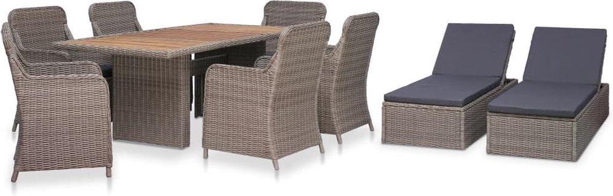 MiaXL 9-delige Tuinset met ligbedden - Tuinmeubelen - Complete tuinset - Tuintafel - Eetset - Loungeset - Ligstoel - 8 personen - Poly rattan - Bruin