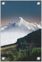 Tuinposter –Witte Bergtoppen – 30x40  Foto op Tuinposter (wanddecoratie voor buiten en binnen)
