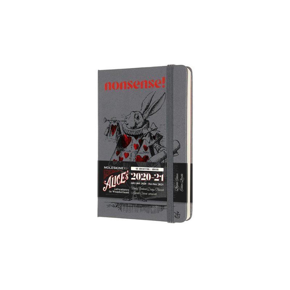 Moleskine 18 Maanden Agenda - 2020/21 - Limited Edition Planner - Alice In Wonderland - Wekelijks - Pocket (9x14 cm) - Paars - Harde Kaft