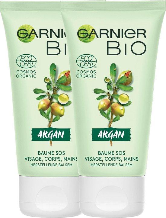 Garnier Bio Herstellende Balsem met Rijke Argan - 2 x 50 ml - Lichaams-, Gezichts- en Handcrème voor droge en ruwe huid - Multiverpakking