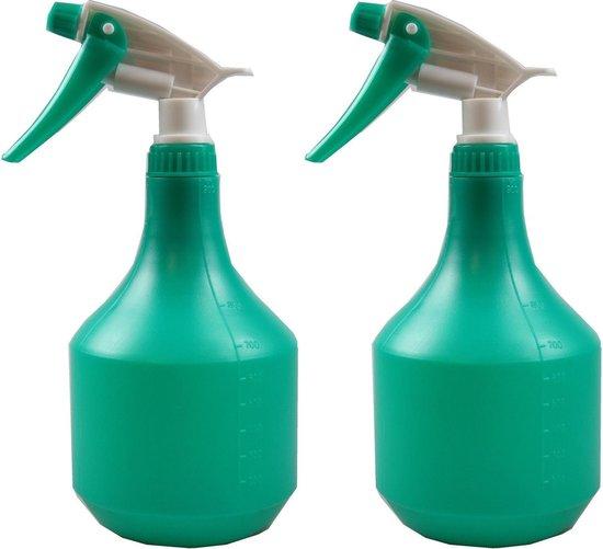Set van 2x Groene plantenspuiten 900 ml - Tuinbenodigdheden - Waterverstuiver - Plantensproeiers/plantenspuiten
