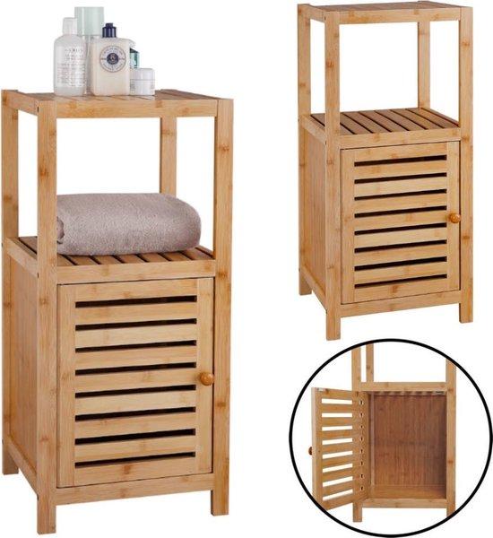 Decopatent® Staand Badkamerrek bamboe hout - Badkamerkast rek met 1 kast deur & 2 etages voor in badkamer - Open kastje Opbergrek