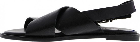Tango | Tyra 1-a Black Leather Cross Strap Sandal - Sole Maat: 42 dubMoV