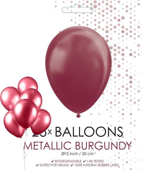 Globos Ballonnen 30,5 Cm Latex Bordeaux Metallic 25 Stuks