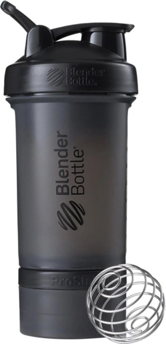 BlenderBottle ProStak - Eiwitshaker   Bidon   Shakebeker - 650 ml  - Full Color Black   Zwart