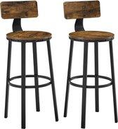 MuCasa©   Barkruk   set van 2 barstoelen   keukenstoelen met stevig metalen frame   zithoogte 73,2 cm   eenvoudige montage   industrieel design   vintage bruin-zwart