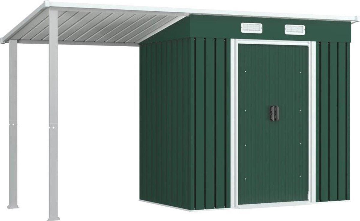 VidaXL Tuinschuur met verlengd dak 346x121x181 cm staal groen VDXL_144035 online kopen