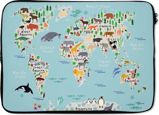 Laptophoes 14 inch - Wereldkaart - Kinderen - Dieren - Kind - Laptop sleeve