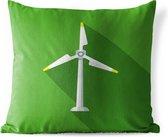 Buitenkussens - Tuin - Een illustratie van een eenzame windmolen op een groene achtergrond - 45x45 cm