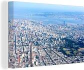 Luchtfoto van het Zuid-Amerikaanse Montevideo Canvas 120x80 cm - Foto print op Canvas schilderij (Wanddecoratie woonkamer / slaapkamer)
