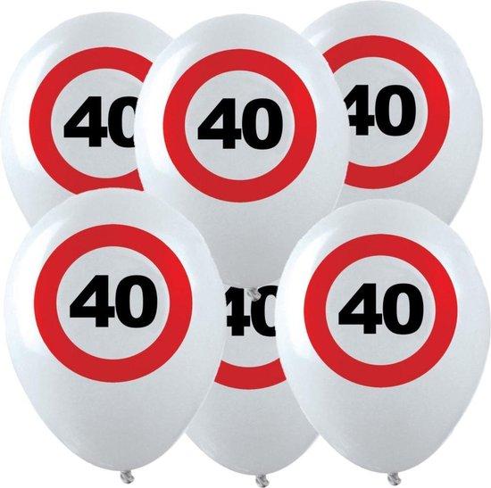 12x Leeftijd verjaardag ballonnen met 40 jaar stopbord opdruk 28 cm