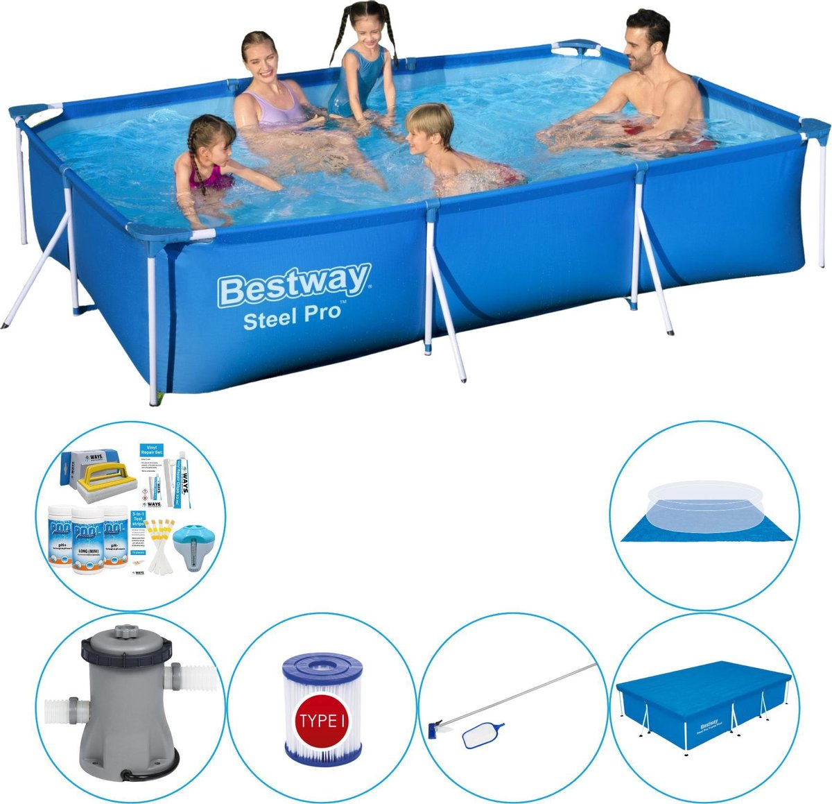 Bestway Zwembadpakket - 300 x 200 x 66 cm