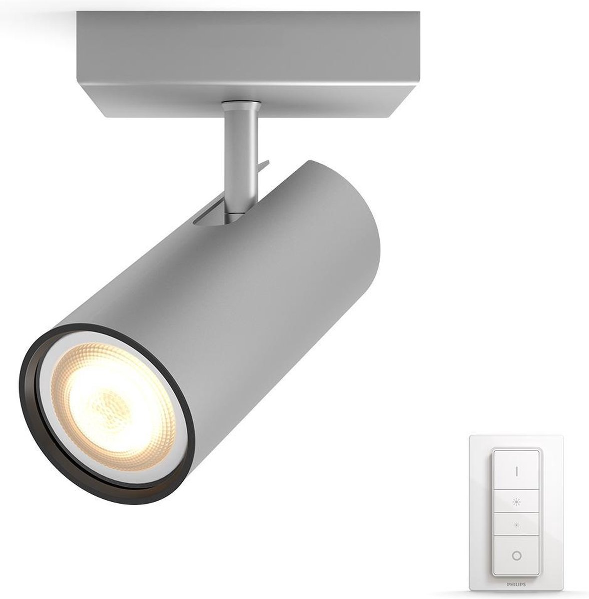 Philips Hue Buratto - Opbouwspot - 1 lichtpunt - aluminium - incl DIM switch
