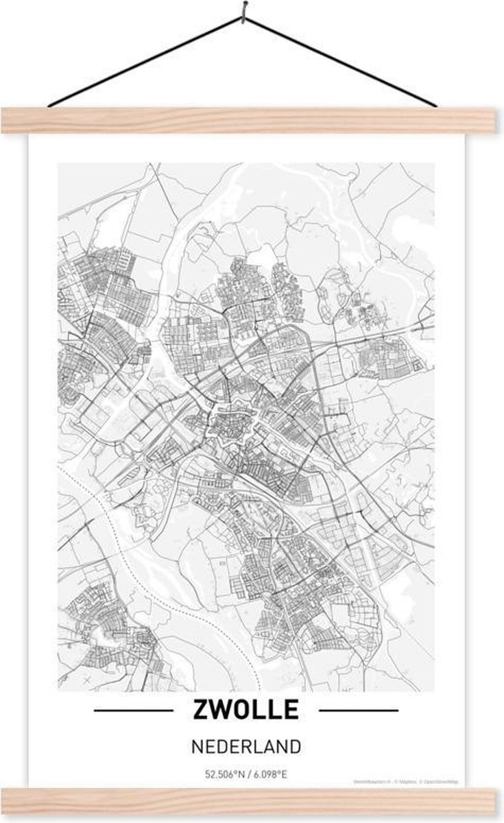 Stadskaart Zwolle textielposter latten blank - Plattegrond 40x60 cm - Foto print op schoolplaat (wanddecoratie woonkamer/slaapkamer)