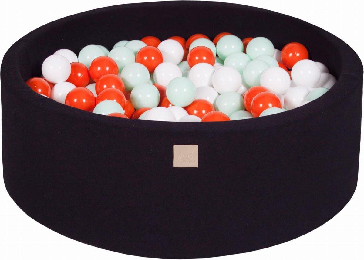 Ronde Ballenbak set incl 200 ballen 90x30cm - Zwart: Mint, Oranje, Wit