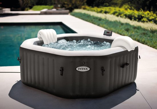 Intex PureSpa Jet & Bubble Deluxe Octagon + Hard Water Systeem + Zoutwatersysteem 4 persoons | Jacuzzi | Spa