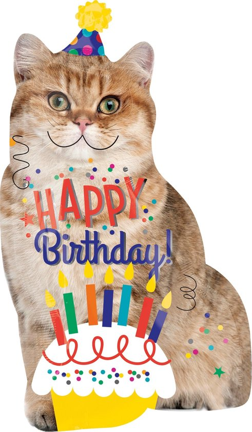 Amscan Folieballon Happy Birthday Kat 45 X 83 Cm Bruin