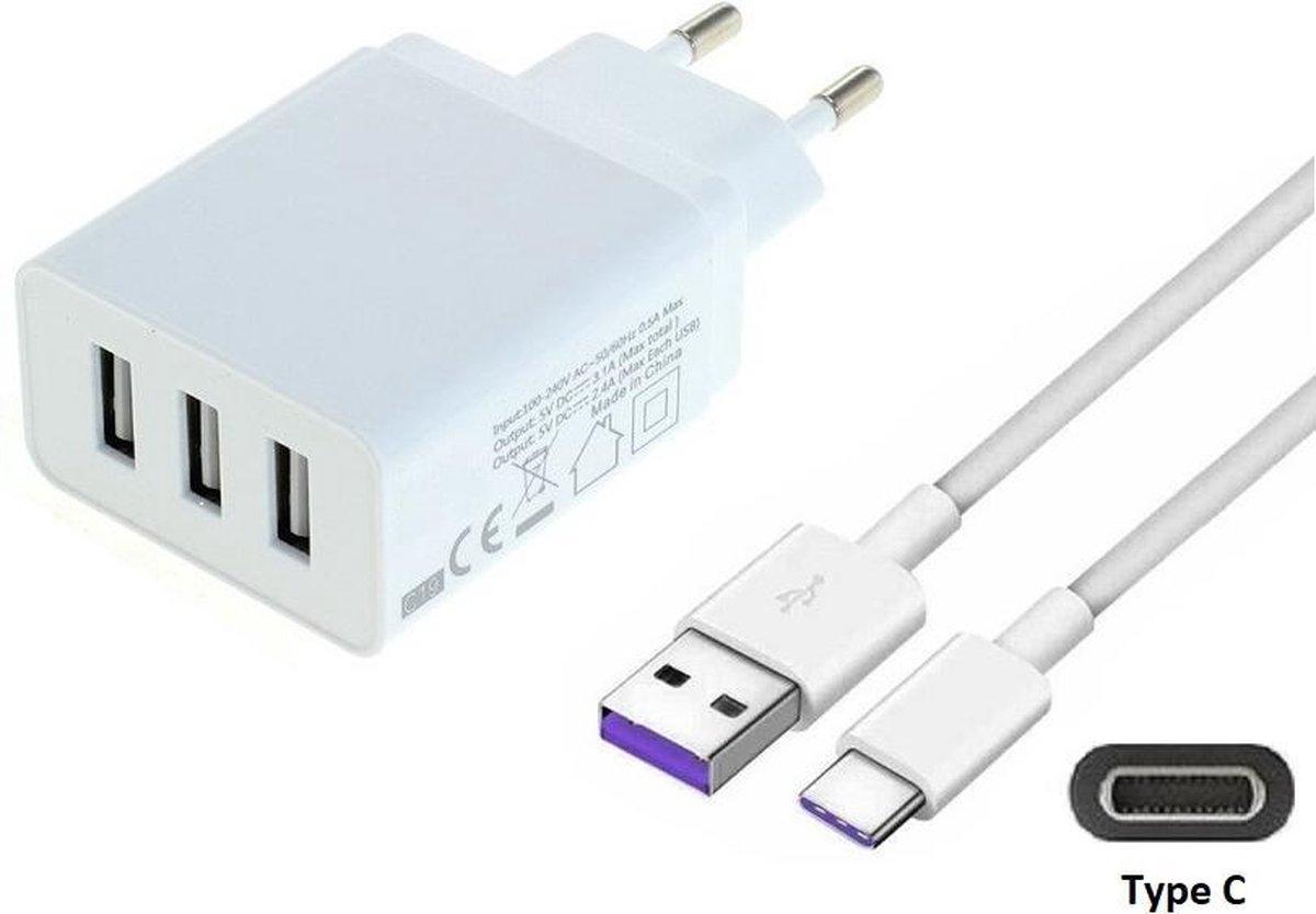 3,1A oplader adapter en 0,8 m USB C oplaadkabel. Stekker met oplaadsnoer. Past ook op Samsung tablet. O.a. Galaxy Tab S7 (SM-T870), Tab A 8.4 2020 (SM-T307), Tab S7+ plus (SM-T970), Tab S6 Lite (SM-P610)